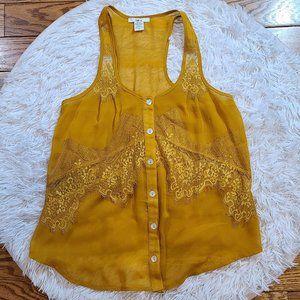 Bar III Women's Mustard Lace Tank Top